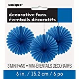 "6"" Mini Royal Blue Tissue Paper Fan Decorations, 3ct"