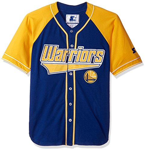 - STARTER NBA Golden State Warriors Men's The Player Baseball Jersey, Large, Royal