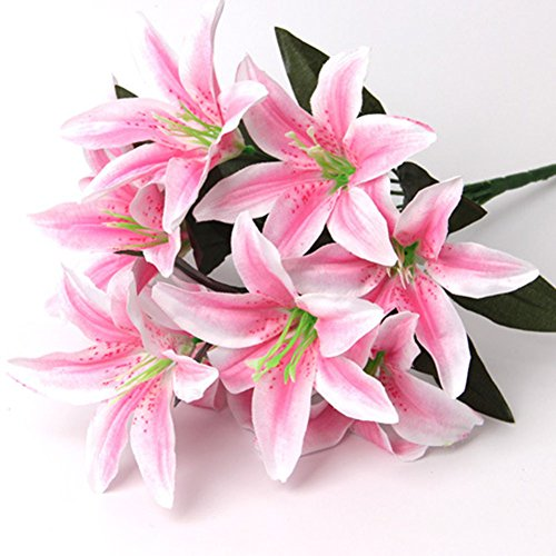 Artificial Lily Artfen 10 Heads Fake Lily Artificial Flower Wedding Party Decor Bouquet Home Hotel Office Garden Craft Art Decor Pink (Pink Bouquet Lily)