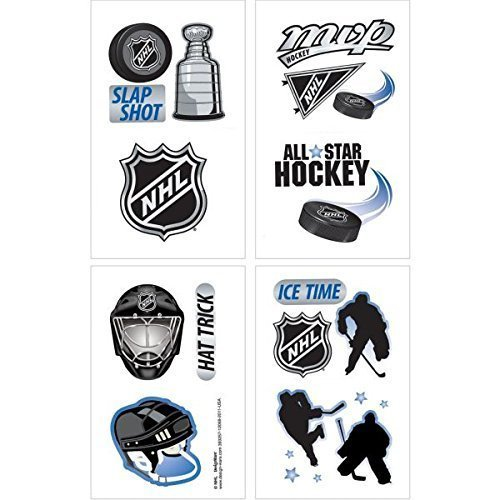 Amscan Sports and Tailgating NHL Party NHL Ice Time! Temporary Tattoos Favours, Paper, 2