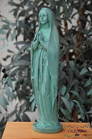 30 - 31 cm, verde, virgen rezando Antiguo, virgen María sin Niño, con cordones y Rosario, Marie Figura como símbolo de Descalzo Inocencia y unbefleckter ...