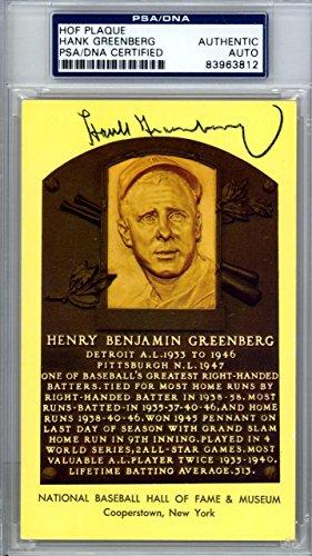 Hank Greenberg Autographed Signed HOF Plaque Postcard Tigers #83963812 PSA/DNA Certified MLB Cut Signatures