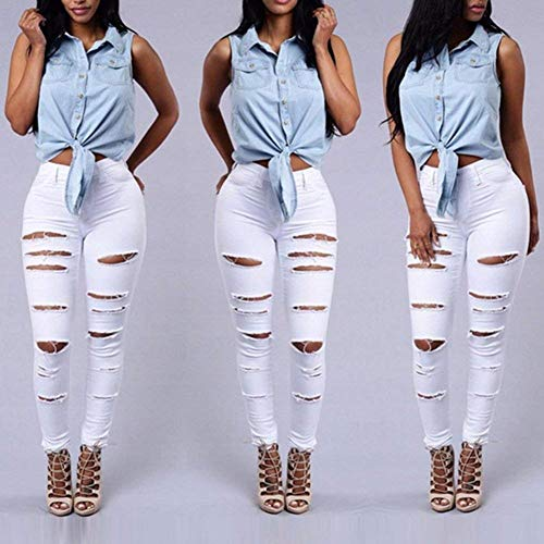 Ajustados Con Cintura De Mezclilla Alta Bolsillos Blanco Casuales Sólido Pantalones Color Elásticos Rasgados Vaqueros Mujeres 0gwxq1T