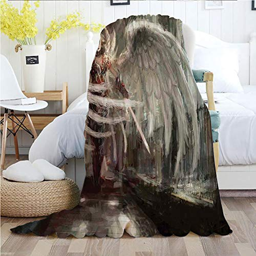 Fantasy Decor,Throw Blankets,Flannel Plush Velvety Super Soft Cozy Warm with/Cyborg Angel Girl Warrior with Sword in Gothic Ancient Historical Architecture Decorative/Printed Pattern(50
