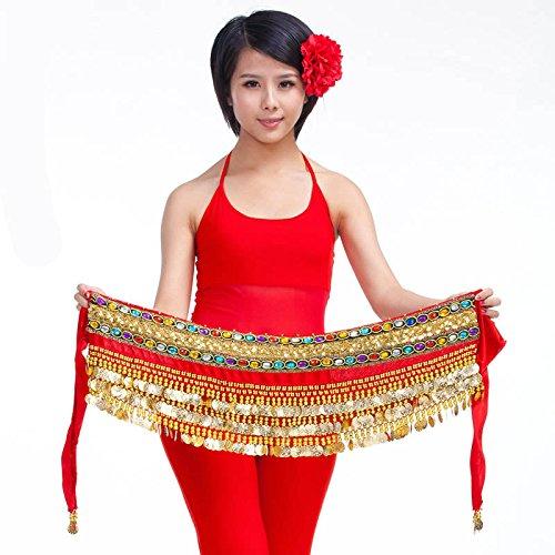 3 Costume Monete Hip 8 nbsp;file Ventre Style Cintura Danza Ballerina 3 Del Da Warp Sciarpa Gonna rxrgUwBq