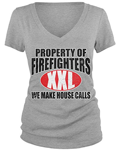 Junior Firefighter Badge (Amdesco Junior's Property of Firefighters We Make House Calls V-Neck T-Shirt, Heather Gray Large)
