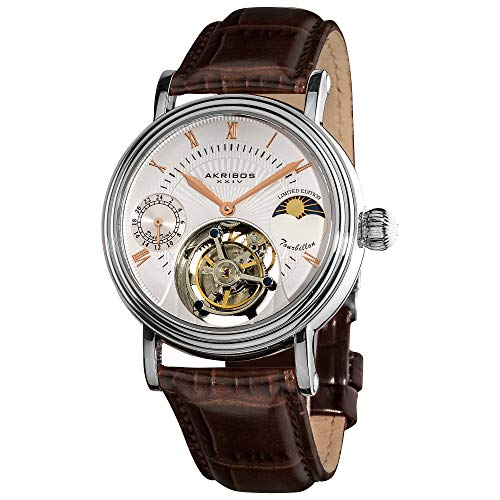 Akribos Xxiv Mens Automatic Watch - Akribos Mechanical Tourbillon Watch - Skeletonized Face with Automatic Dual-time Moon-Phase (AM/PM indicator) Dial - Limited Edition Genuine Croco-Embossed Calfskin Leather Band - AK493 (Silver/Brown)
