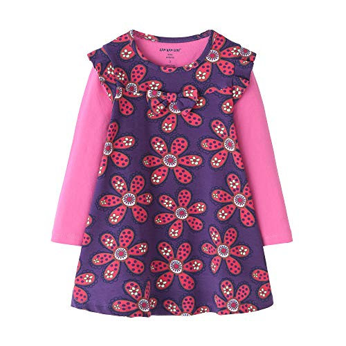 - SIMPLE J&M Toddler Flower Girl Dress Cotton Long Sleeve Brown Baby Girls Autumn Winter Cotton Basic Dress for 2-6 Years (Purple with Printed, 2T)