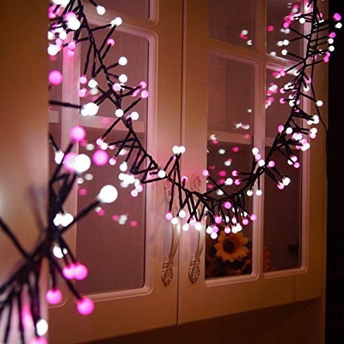BIENNA Globe String Lights, UL Listed Plug in 10 ft/3 M 400 LED Ball Fairy Lighting [Waterproof] [8 Modes] for Outdoor Indoor Bedroom Patio Home Christmas Xmas Holiday Wedding Party(Pink+Cool White) ()