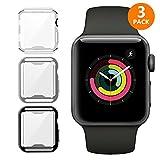 iHYQ For Apple Watch Case 42mm 3 PACK, Slim Soft TPU Lightweight iWatch Screen Protector Bumper Cover for Apple iWatch Series 1, Series 2, Series 3