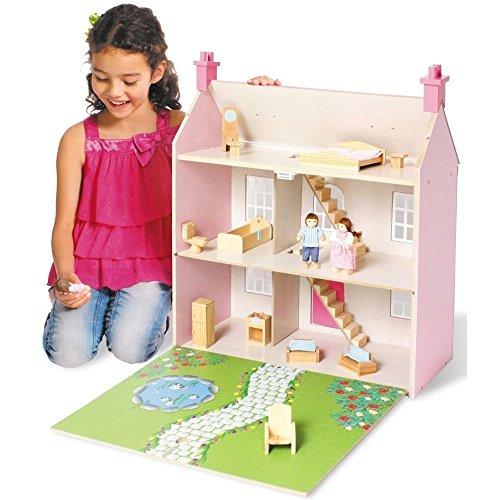 Wooden 3 Storey Dolls House Pink Buy Online In Uae