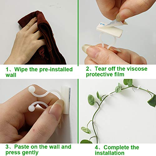 Motiloo Plant Climbing Wall Fixture Clips, 100Pcs Vine Plant Climbing Wall Fixer Self-Adhesive Hook,Wall Sticky Hook Vines Fixing Clip Vines Holder for Home Decoration (100PC)