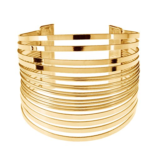 Wide Cuff Bangle (MXYZB Stainless Steel Wide Cuff Bangle Bracelet Hollow Hoop Open Ended Adjustable (Gold))