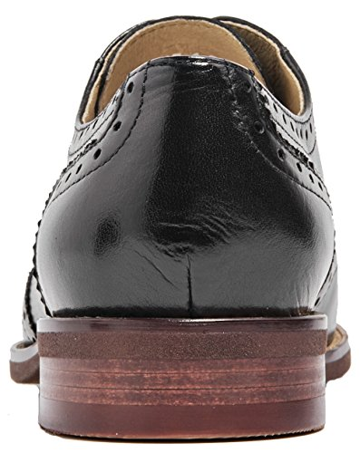 U-lite Black Perforated Lace-up Wingtip Leather Flat Oxfords Vintage Oxford Shoes Women BLK 5.5