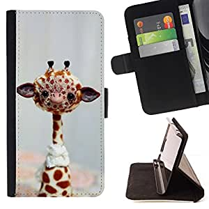 For Samsung Galaxy S6 EDGE Funny Friendly Giraffe Beautiful Print Wallet Leather Case Cover With Credit Card Slots And Stand Function