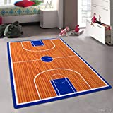 Allstar 3x5 Orange Kids' Educational Rectangular Accent Rug with White and Blue Basketball Court Design (3' 3' x 4' 9')