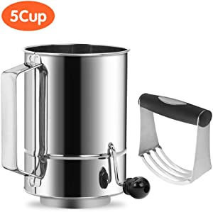 Flour Sifter Stainless Steel 5 Cup Rotary Hand Crank with 16 Fine Mesh Screen Baking Sifter