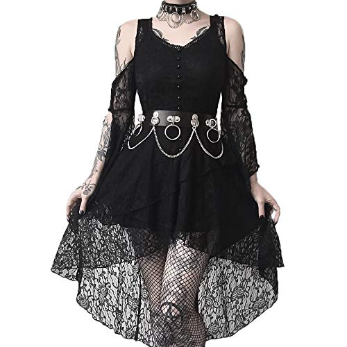 Women In The Gothic (Dark in Love Black Gothic Elegant Lace High-Low Summer Casual Dress)