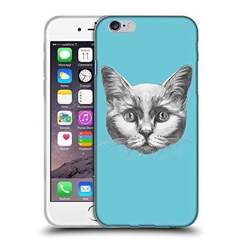 GoGoMobile Coque de Protection TPU Silicone Case pour // Q05110627 Dessin chat Cyan // Apple iPhone 6 PLUS 5.5""