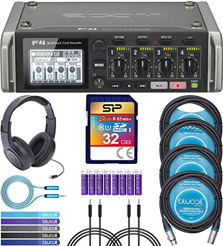Zoom F4 Field Recorder Bundle with Silicon Power 32GB Class 10 SD Card, Samson SR350 Headphones, 2x 6' Aux Cable, Blucoil 6' 3.5mm Extension Cable, 4x 10' XLR Cable, 5x Cable Ties, and 8 AA Batteries