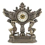Strong Men Carrying Vessel of Harvest with Winged Mermaid 11 Inch Bronze Stone Mantle Clock