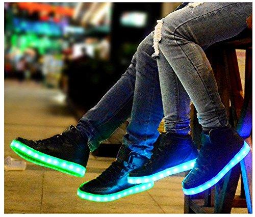 LED USB Sneakers Charging Flashing Unisex amp;N Men Shoes High Women O Black Top RY8nqw6