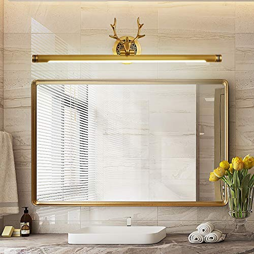 Nuanxingjiafang Wall - Copper Antlers Light LED Mirror/Mirror Bathroom Toilet Cabinet Bathroom Vanity Lights Well-Made (Color : Brass, Size : 76cm)