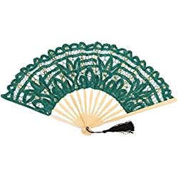 FAN-014 Emerald Green Classic Cotton Lace Summer Fan