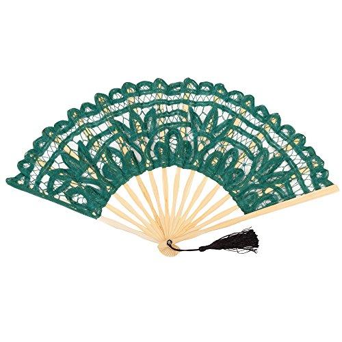 FAN-014 Emerald Green Classic Cotton Lace Summer Fan
