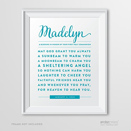 Andaz Press Personalized Religious Wall Art Nursery Poster Sign, Decorations and Party Decor, Girl or Boy Catholic First Holy Communion May God Grant You Always Blessing Gift Print, 1-Pack, Custom Made any Name and Color