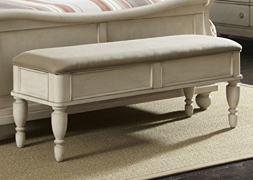 Liberty Furniture Rustic Traditions II Bedroom Bed Bench, Rustic White (Bench Footboard)