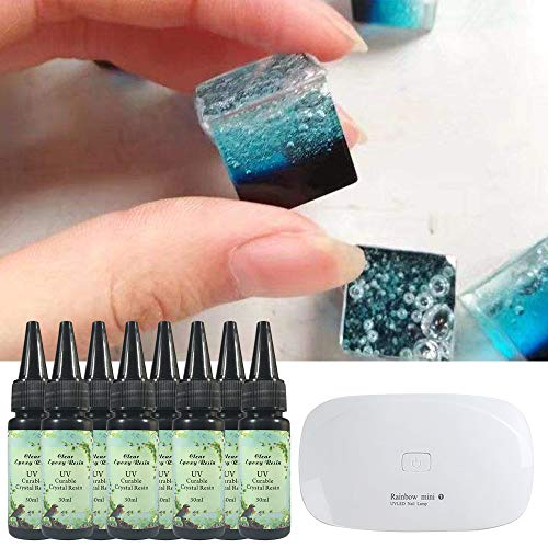 8x 30ML Crystal Clear Epoxy Resin UV Curable Transparent Kit With Compact  Portable UV Lamp for Jewelry Making Resin Art Resin Crafts DIY, Fast Drying