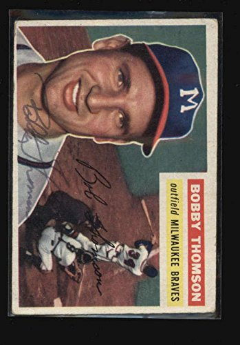 (1956 Topps #257 Bobby Thomson Authentic On Card Autograph Signature Ax4006 - Baseball Slabbed Autographed Cards)