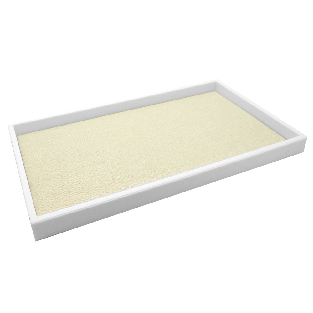 Regal Pak White Full Size 1 H Stackable Plastic Tray With Beige Linen Pad 14-1 8 X 7-5 8 Jewelry Not Included