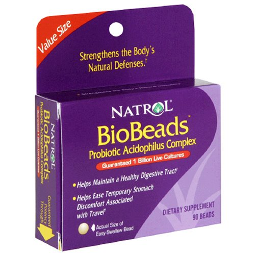 Natrol BioBeads Probiotic Acidophilus Complex, Dietary Supplement, Beads, Value Size , 90 beads