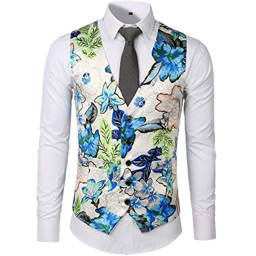 Homme Multicolore Casual Coatume Gilet S Floral Sans 2xl Classique Manches Jacquard Longues Sliktaa Blanc TxUwC6qx