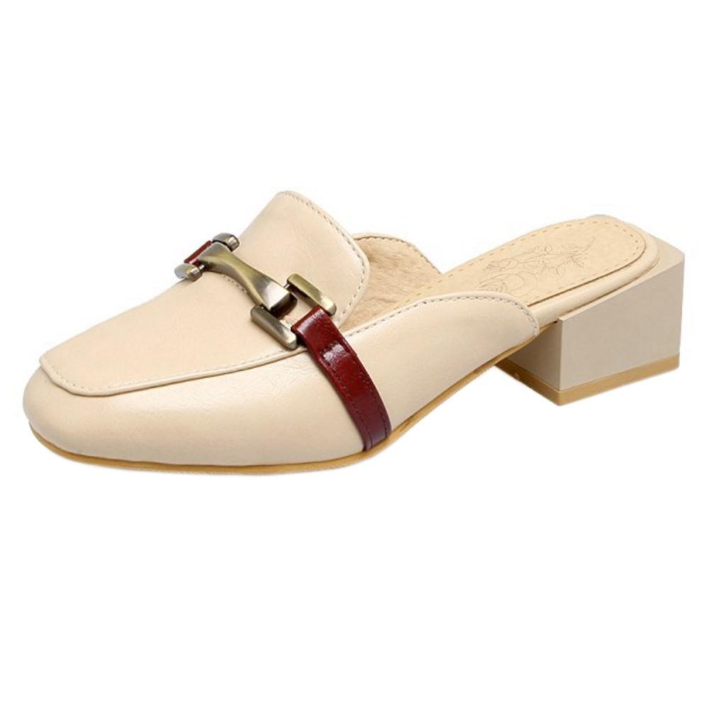 TAOFFEN Damen Pantoletten Pumps Schuhe mit Absatz Beige