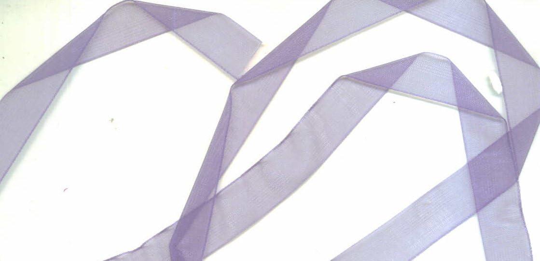 "5//8/"" Wide Organdy Ribbon 5 Yards Heather Lavender"