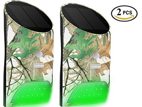 Feeder Sensor (Vizzlema Feeder Hog Light Outdoor Solar Feeder Light for hunting with Motion Sensor and Green Light for Game Animal Hunting (Pack of 2))