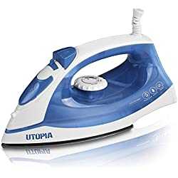 Utopia Home Steam Iron with Nonstick Soleplate - Small Size Lightweight - Best for Travel - Powerful Steam Output - Dry Iron Function 1200 Watt - Blue