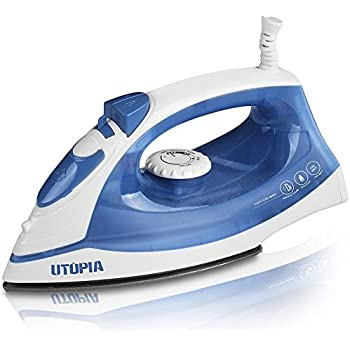 Steam Iron with Nonstick Soleplate - Small Size Light Weight - Best For Travel - Powerful Steam Output - Dry Iron Function 1200 Watt - by Utopia Home