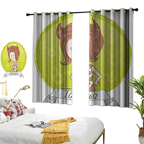 Bedroom Curtains W72 x L45 Taurus,Cute Cartoon Little Girl Dressed Like Cow with Spots and Horns Image,Light Caramel Apple Green Blackout Room Darkening Thermal Insulated Curtain Grommet Panels F -
