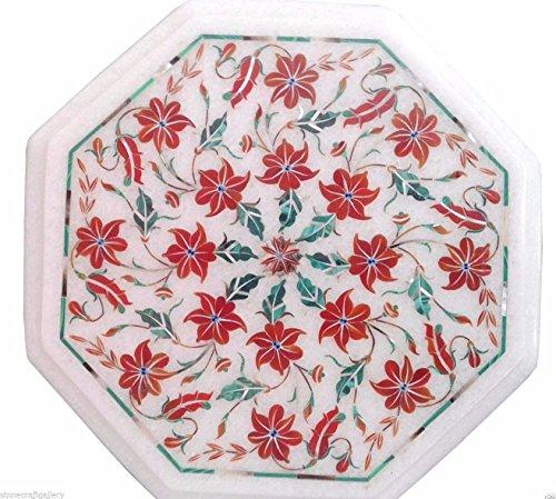 artistzilla 30,5cm Mármol Blanco Café Centro Table parte superior Rare Inlay Pietra mosaico Home Decor Art