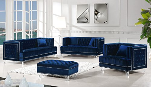 Meridian Furniture 609Navy-C Lucas Button Tufted Velvet Upholstered Armchair with Square Arms, Silver Nailhead Trim, and Lucite Legs, Navy