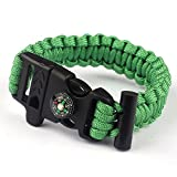 Paracord Survival Bracelet Rope, TRENDINAO New Paracord Survival Bracelet Rope Flint Fire Starter Compass Whistle (Green)