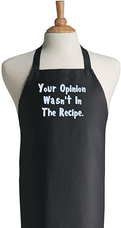 Your Opinion Wasn T In The Recipe Funny Black Apron Amazon Co Uk Kitchen Home