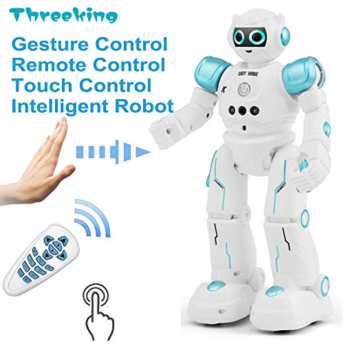(Threeking Smart Robot Toys Gesture Control Remote Control Robot JJRC Robot Gift for Boys Girls Kid's Companion:Game Learning Music Dance...Rechargeable Rc Robot Toy - Blue)