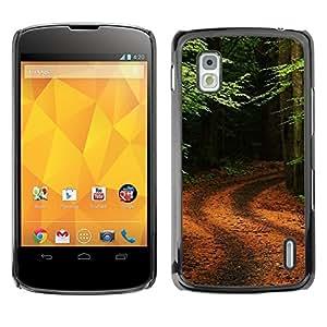 Be Good Phone Accessory // Dura Cáscara cubierta Protectora Caso Carcasa Funda de Protección para LG Google Nexus 4 E960 // Nature Forrest Trail
