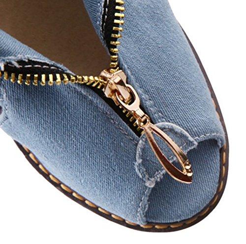 Aisun Donna Casual Unico Cerniera Ritaglio Peep Toe Piattaforma Tacchi Alti Talloni In Denim Scarpe Sandali Blu Chiaro
