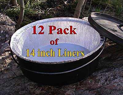 """Disposable Foil Dutch Oven Liner, 12 Pack 14"""" 8Q liners, No more Cleaning, Seasoning your Dutch ovens. Lodge, Camp Chef."""